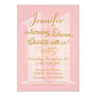 Birthday Invitation Girls Pink Gold Hearts Red A E Ac Zkrqs Jpg 324x324 11th Invitations