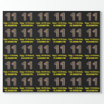 """[ Thumbnail: 11th Birthday: Name & Faux Wood Grain Pattern """"11"""" Wrapping Paper ]"""