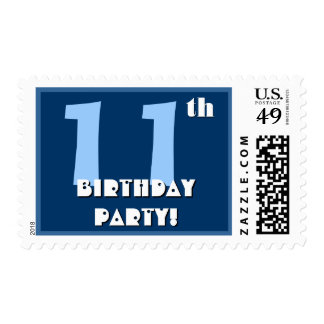 11th Birthday Party Big Bold Blue and White Postage