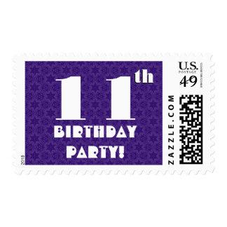 11th Birthday Party Big Bold Purple White W1211 Postage Stamp