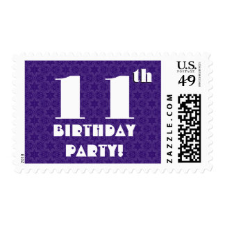 11th Birthday Party Big Bold Purple White W1211 Stamp