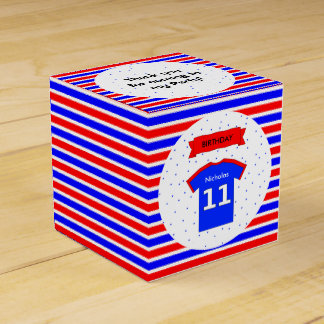 11th birthday party custom name red blue favor box
