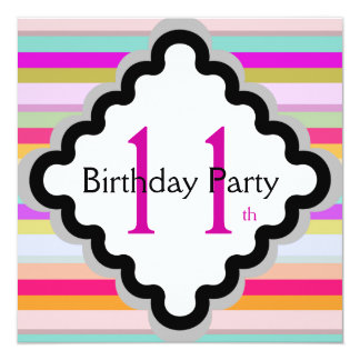 Girls 11th Birthday Party Invitations Announcements Zazzle