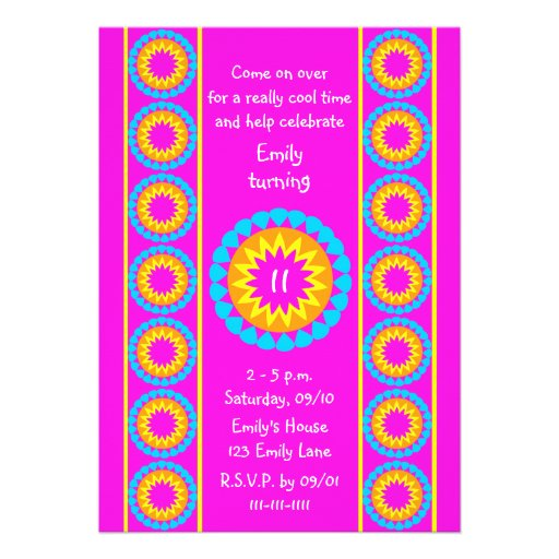 """11th Birthday Party Invitation -- Cool Hot Pink 5"""" X 7 ..."""
