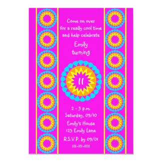 "11th Birthday Party Invitation -- Cool Hot Pink 5"" X 7"" Invitation Card"