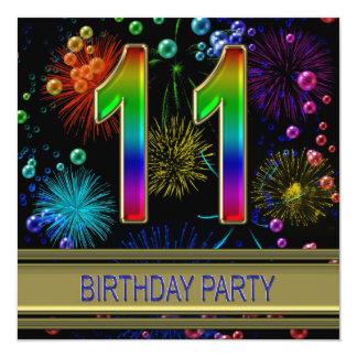 """11th Birthday party Invitation with bubbles 5.25"""" Square Invitation Card"""