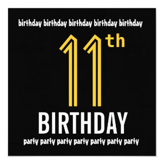 11th Birthday Party Modern Gold and Black Card