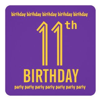 11th Birthday Party Modern Purple And Gold Card