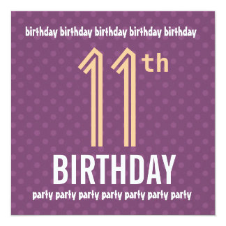 11th Birthday Party Purple and Peach Polka Dots Card