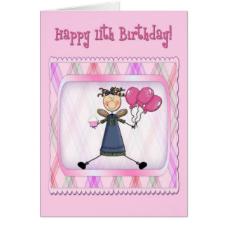 11th Birthday Pink Angel Card