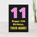 "[ Thumbnail: 11th Birthday: Pink Stripes and Hearts ""11"" + Name Card ]"