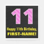 "[ Thumbnail: 11th Birthday: Pink Stripes and Hearts ""11"" + Name Napkins ]"