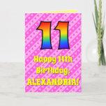 [ Thumbnail: 11th Birthday: Pink Stripes & Hearts, Rainbow # 11 Card ]