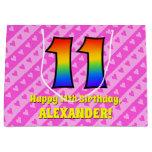 [ Thumbnail: 11th Birthday: Pink Stripes & Hearts, Rainbow # 11 Gift Bag ]