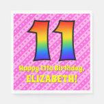 [ Thumbnail: 11th Birthday: Pink Stripes & Hearts, Rainbow # 11 Napkins ]
