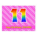 [ Thumbnail: 11th Birthday: Pink Stripes & Hearts, Rainbow 11 Postcard ]