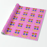 [ Thumbnail: 11th Birthday: Pink Stripes & Hearts, Rainbow # 11 Wrapping Paper ]
