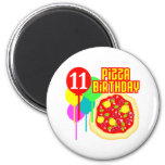11th Birthday Pizza Birthday Refrigerator Magnets