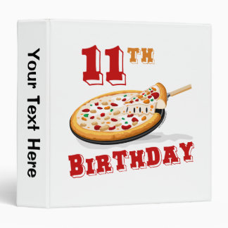 11th Birthday Pizza party 3 Ring Binder