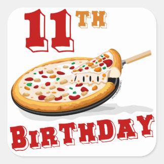 11th Birthday Pizza party Square Sticker