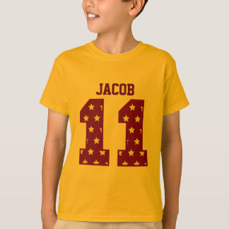 11th Birthday RED and GOLD STARS Custom Name T-Shirt