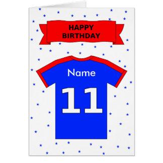 11th birthday red blue t-shirt add a name card