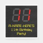 "[ Thumbnail: 11th Birthday: Red Digital Clock Style ""11"" + Name Napkins ]"