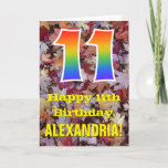 "[ Thumbnail: 11th Birthday; Rustic Autumn Leaves; Rainbow ""11"" Card ]"