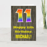 "[ Thumbnail: 11th Birthday: Rustic Faux Wood Look, Rainbow ""11"" Card ]"
