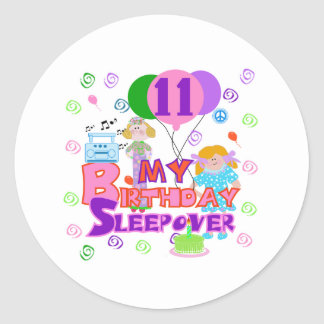 11th Birthday Sleepover Classic Round Sticker