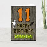 [ Thumbnail: 11th Birthday: Spooky Halloween Theme, Custom Name Card ]
