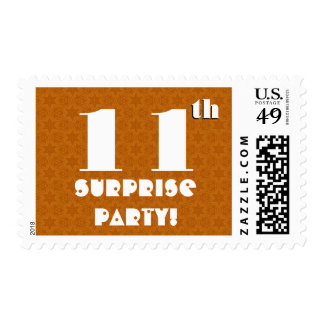 11th Birthday Surprise Party Gold White W1253 Postage