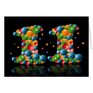 11th birthday with numbers formed from balls card