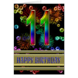 11th Birthday with rainbow bubbles and fireworks Cards