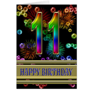 11th Birthday with rainbow bubbles and fireworks Greeting Card