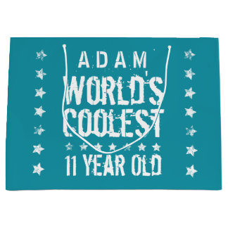 11th Birthday World's Coolest 11 Year Old Teal Z11 Large Gift Bag