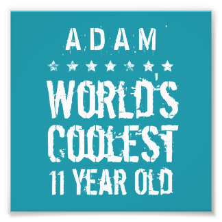 11th Birthday World's Coolest 11 Year Old Teal Z11 Photo Print