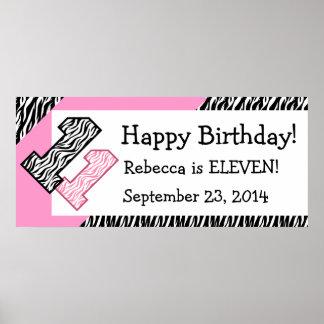 11th Birthday Zebra with Pink Custom Name V07 Poster