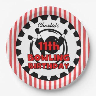 11th Bowling Sports Birthday Paper Plates