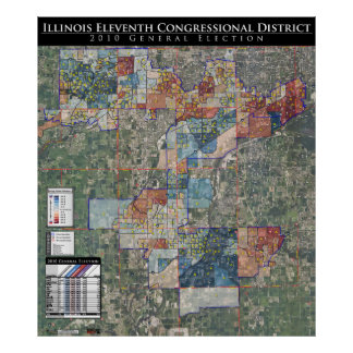 11th Cong. 2010 General Election Map (IL-11) Print