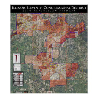 11th Cong. 2010 Republican Primary Map (IL-11) Poster