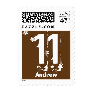 11th Tween Birthday Grunge Letters Stars C11Z Postage Stamp