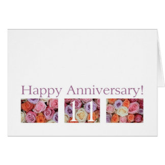 11th Wedding Anniversary Card pastel roses
