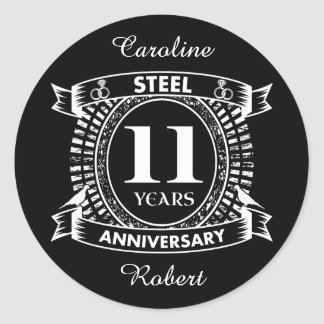 11th Wedding Anniversary Steel Clic Round Sticker