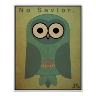 "11x14"" Anti-Religion Owl (Cool Color Scheme) Poster"
