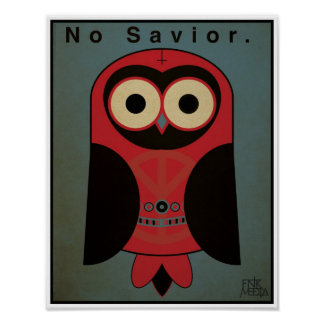 "11x14"" Anti-Religion Owl (Dark Color Scheme) Poster"