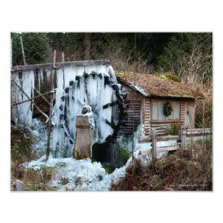 11X14 Frozen Dalby Waterwheel in Union Washington Photo