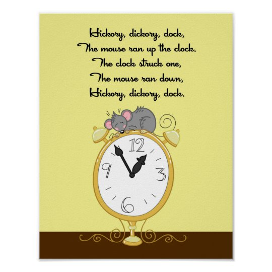 11x14 Hickory Dickor Dock Rhyme Kids Room Wall Art
