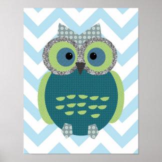 11x14 Owl Poster for Kid's Room, Nursery, Playroom