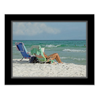 11x14 Painting Print Relaxing On The Beach